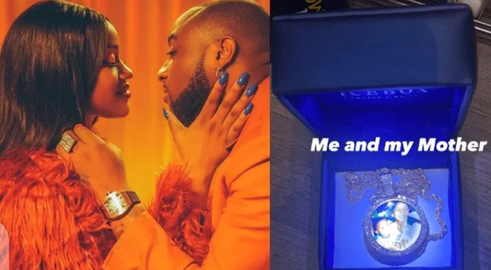 Birthday: Davido emotional as Chioma gifts him diamond crusted pendant customized with a photo of him and his mum