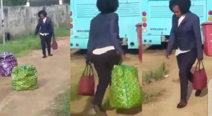 See How Nigerian lady set to travel abroad runs mad as she arrives at the airport (video)